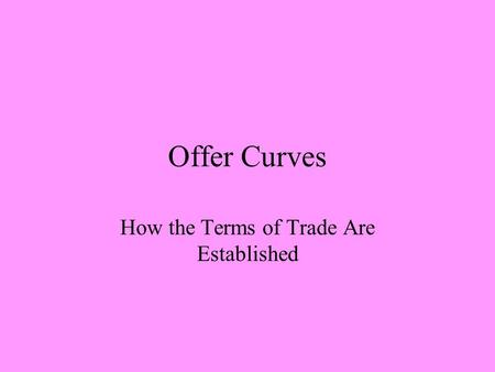 Offer Curves How the Terms of Trade Are Established.