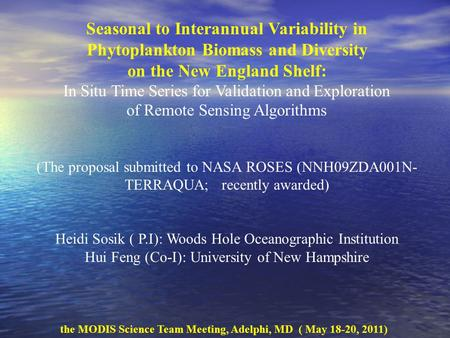 Seasonal to Interannual Variability in Phytoplankton Biomass and Diversity on the New England Shelf: In Situ Time Series for Validation and Exploration.