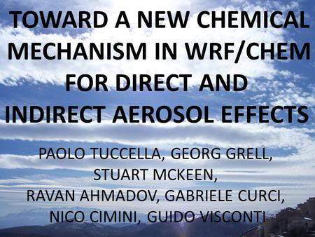 INDIRECT AEROSOL EFFECTS