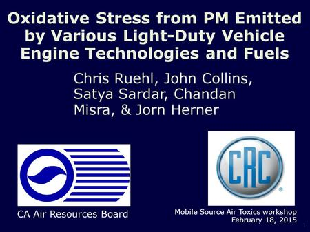 Oxidative Stress from PM Emitted by Various Light-Duty Vehicle Engine Technologies and Fuels Chris Ruehl, John Collins, Satya Sardar, Chandan Misra, &