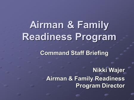Airman & Family Readiness Program