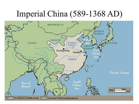 Imperial China (589-1368 AD). The Sui Dynasty (519-618 AD) Sui Wen-ti (dies 605 AD): Founder, Chinese-Turkic General Yang-ti (605-618 AD) –Restores Confucianism.