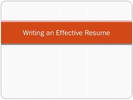 Writing an Effective Resume. There is no official format for a resume. You have the freedom to design yours to meet your personal style. However all resumes.