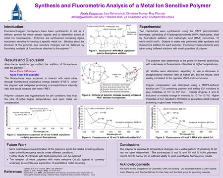 Synthesis and Fluorometric Analysis of a Metal Ion Sensitive Polymer Alexis Kasparian, Lea Nyiranshuti, Christian Tooley, Roy Planalp