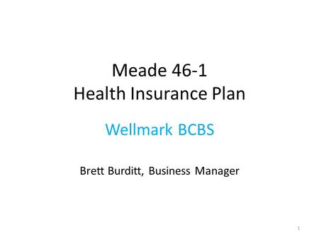Meade 46-1 Health Insurance Plan Wellmark BCBS Brett Burditt, Business Manager 1.