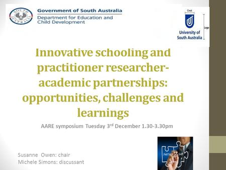 Innovative schooling and practitioner researcher- academic partnerships: opportunities, challenges and learnings AARE symposium Tuesday 3 rd December 1.30-3.30pm.