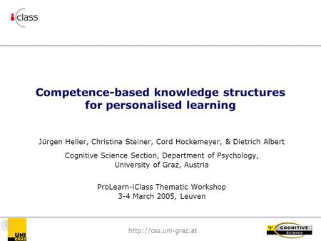Competence-based knowledge structures for personalised learning Jürgen Heller, Christina Steiner, Cord Hockemeyer, & Dietrich Albert.