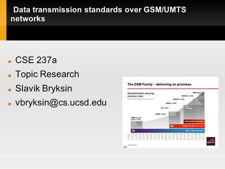 Data transmission standards over GSM/UMTS networks CSE 237a Topic Research Slavik Bryksin