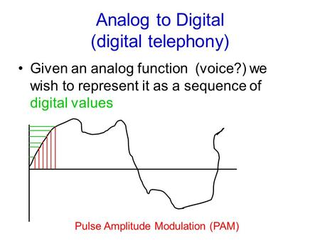 Analog to Digital (digital telephony) Given an analog function (voice?) we wish to represent it as a sequence of digital values Pulse Amplitude Modulation.
