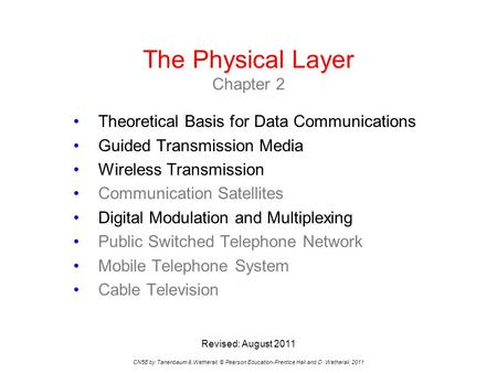 The Physical Layer Chapter 2 CN5E by Tanenbaum & Wetherall, © Pearson Education-Prentice Hall and D. Wetherall, 2011 Theoretical Basis for Data Communications.