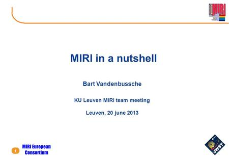 KU Leuven MIRI team meeting