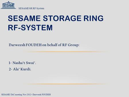 SESAME Storage Ring RF-System