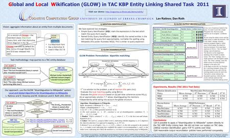 Global and Local Wikification (GLOW) in TAC KBP Entity Linking Shared Task 2011 Lev Ratinov, Dan Roth This research is supported by the Defense Advanced.