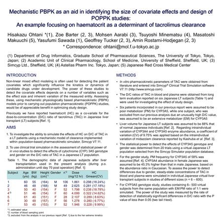 Mechanistic PBPK as an aid in identifying the size of covariate effects and design of POPPK studies: An example focusing on haematocrit as a determinant.