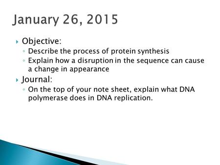  Objective: ◦ Describe the process of protein synthesis ◦ Explain how a disruption in the sequence can cause a change in appearance  Journal: ◦ On the.