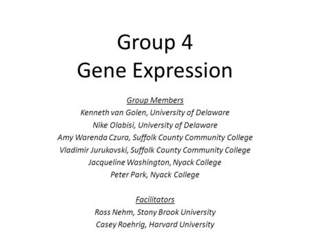 Group 4 Gene Expression Group Members Kenneth van Golen, University of Delaware Nike Olabisi, University of Delaware Amy Warenda Czura, Suffolk County.