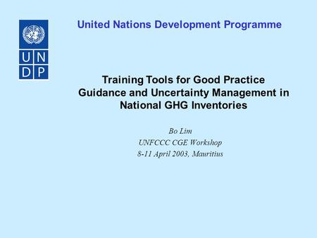 Bo Lim UNFCCC CGE Workshop 8-11 April 2003, Mauritius United Nations Development Programme Training Tools for Good Practice Guidance and Uncertainty Management.