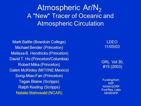 Atmospheric Ar/N 2 A New Tracer of Oceanic and Atmospheric Circulation Mark Battle (Bowdoin College) Michael Bender (Princeton) Melissa B. Hendricks.