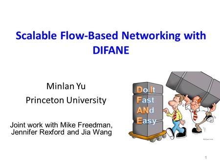 Scalable Flow-Based Networking with DIFANE 1 Minlan Yu Princeton University Joint work with Mike Freedman, Jennifer Rexford and Jia Wang.