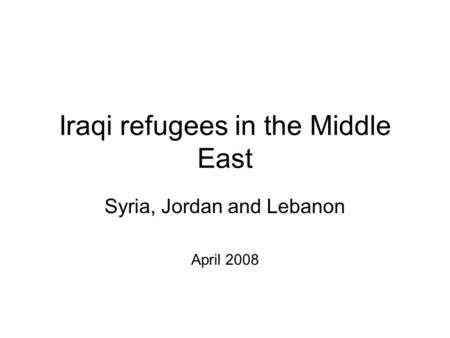 Iraqi refugees in the Middle East Syria, Jordan and Lebanon April 2008.