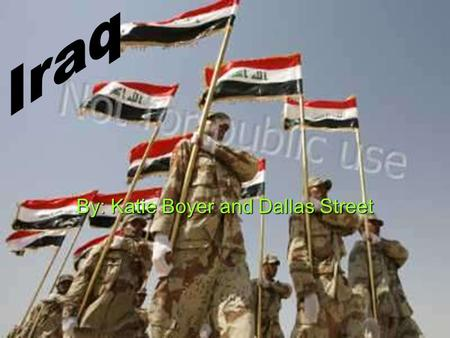 By: Katie Boyer and Dallas Street. The Land Of Iraq  The capital of Iraq is Baghdad  The area of Iraq is 438,317 sq km and 169,235 sq miles  Iraq's.