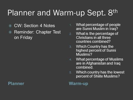 Planner and Warm-up Sept. 8 th PlannerWarm-up  CW: Section 4 Notes  Reminder: Chapter Test on Friday 1. What percentage of people are Sunni Muslim in.