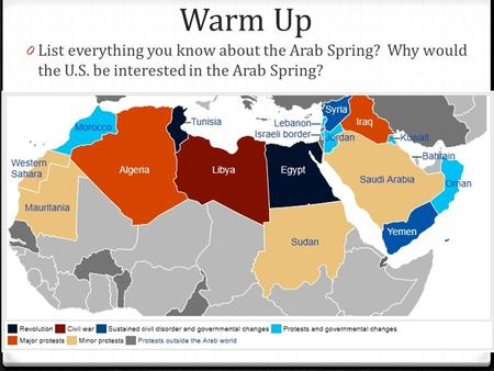 Warm Up 0 List everything you know about the Arab Spring? Why would the U.S. be interested in the Arab Spring?