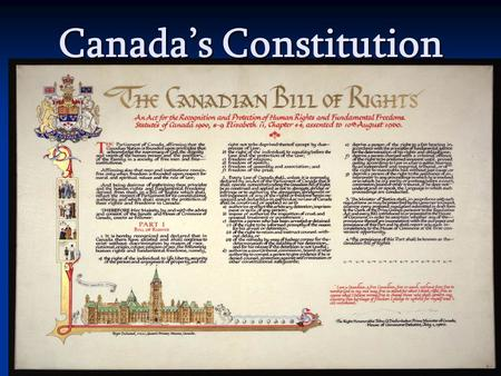 Canada's Constitution. Background  Defines the political structure of the country  Outlines the relationship between government and the people.