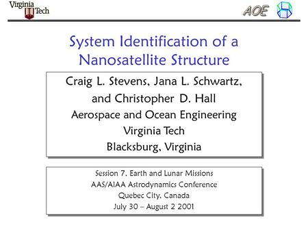 System Identification of a Nanosatellite Structure Craig L. Stevens, Jana L. Schwartz, and Christopher D. Hall Aerospace and Ocean Engineering Virginia.