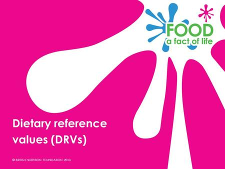 Dietary reference values (DRVs).