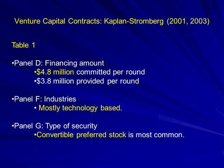 Venture Capital Contracts: Kaplan-Stromberg (2001, 2003) Table 1 Panel D: Financing amount $4.8 million committed per round $3.8 million provided per round.