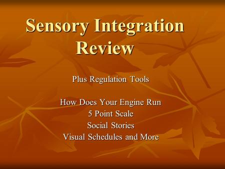 Sensory Integration Review Plus Regulation Tools How Does Your Engine Run 5 Point Scale Social Stories Visual Schedules and More.