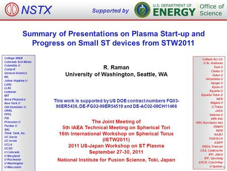 Summary of Presentations on Plasma Start-up and Progress on Small ST devices from STW2011 R. Raman University of Washington, Seattle, WA The Joint Meeting.