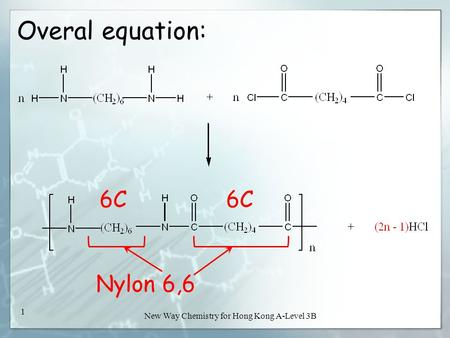 New Way Chemistry for Hong Kong A-Level 3B 1 Overal equation: Nylon 6,6 6C.