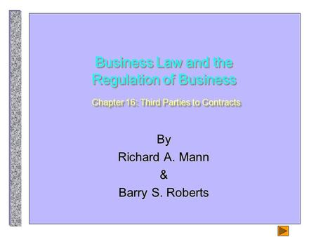 Business Law and the Regulation of Business Chapter 16: Third Parties to Contracts By Richard A. Mann & Barry S. Roberts.