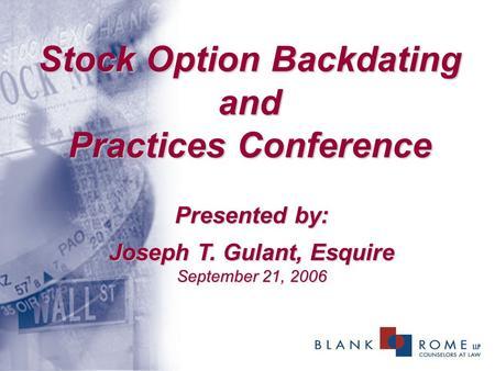 Backdating stock options 2006
