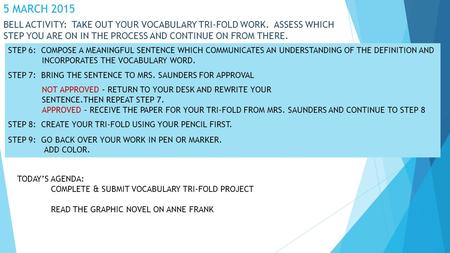 5 MARCH 2015 BELL ACTIVITY: TAKE OUT YOUR VOCABULARY TRI-FOLD WORK. ASSESS WHICH STEP YOU ARE ON IN THE PROCESS AND CONTINUE ON FROM THERE. STEP 6: COMPOSE.