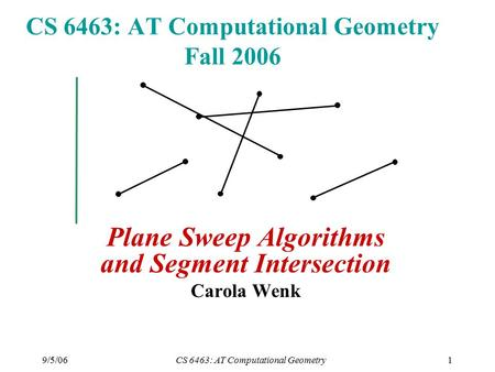 9/5/06CS 6463: AT Computational Geometry1 CS 6463: AT Computational Geometry Fall 2006 Plane Sweep Algorithms and Segment Intersection Carola Wenk.