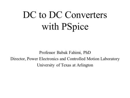 DC to DC Converters with PSpice