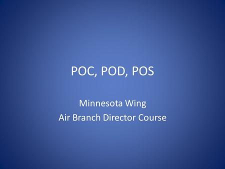POC, POD, POS Minnesota Wing Air Branch Director Course.