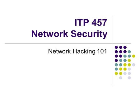 ITP 457 Network Security Network Hacking 101. Hacking Methodology (review) 1. Gather target information 2. Identify services and ports open on the target.