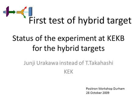 Status of the experiment at KEKB for the hybrid targets Junji Urakawa instead of T.Takahashi KEK Positron Workshop Durham 28 October 2009 First test of.