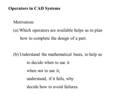 Operators in CAD Systems
