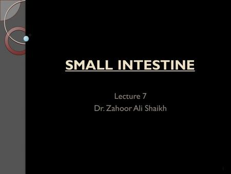 Lecture 7 Dr. Zahoor Ali Shaikh