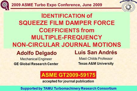 GT2009-59175 SFD Force Coefficients- Multiple Frequency I DENTIFICATION of SQUEEZE FILM DAMPER FORCE C OEFFICIENTS from MULTIPLE-FREQUENCY NON-CIRCULAR.