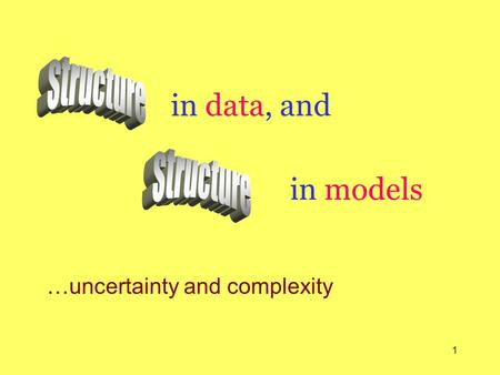 1 in data, and …uncertainty and complexity in models.