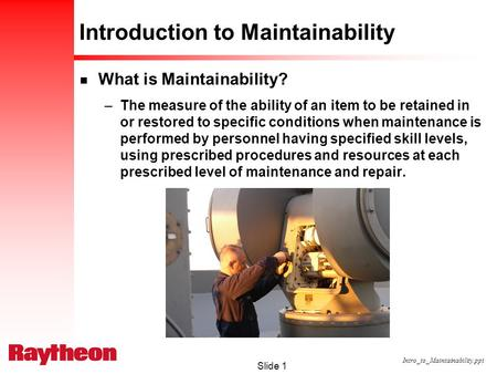 Introduction to Maintainability