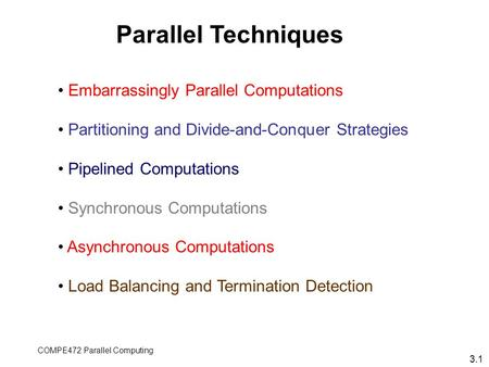 COMPE472 Parallel Computing Embarrassingly Parallel Computations Partitioning and Divide-and-Conquer Strategies Pipelined Computations Synchronous Computations.