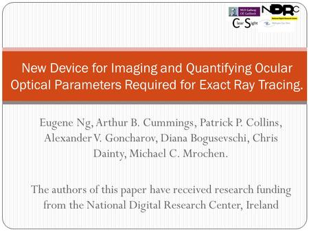 Eugene Ng, Arthur B. Cummings, Patrick P. Collins, Alexander V. Goncharov, Diana Bogusevschi, Chris Dainty, Michael C. Mrochen. The authors of this paper.