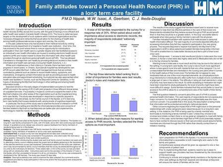 Family attitudes toward a Personal Health Record (PHR) in a long term care facility P.M.D Nippak, W.W. Isaac, A. Geertsen, C. J. Ikeda-Douglas Introduction.